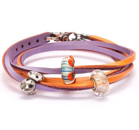 Trollbeads Bracelet Pumpkin Grape Leather