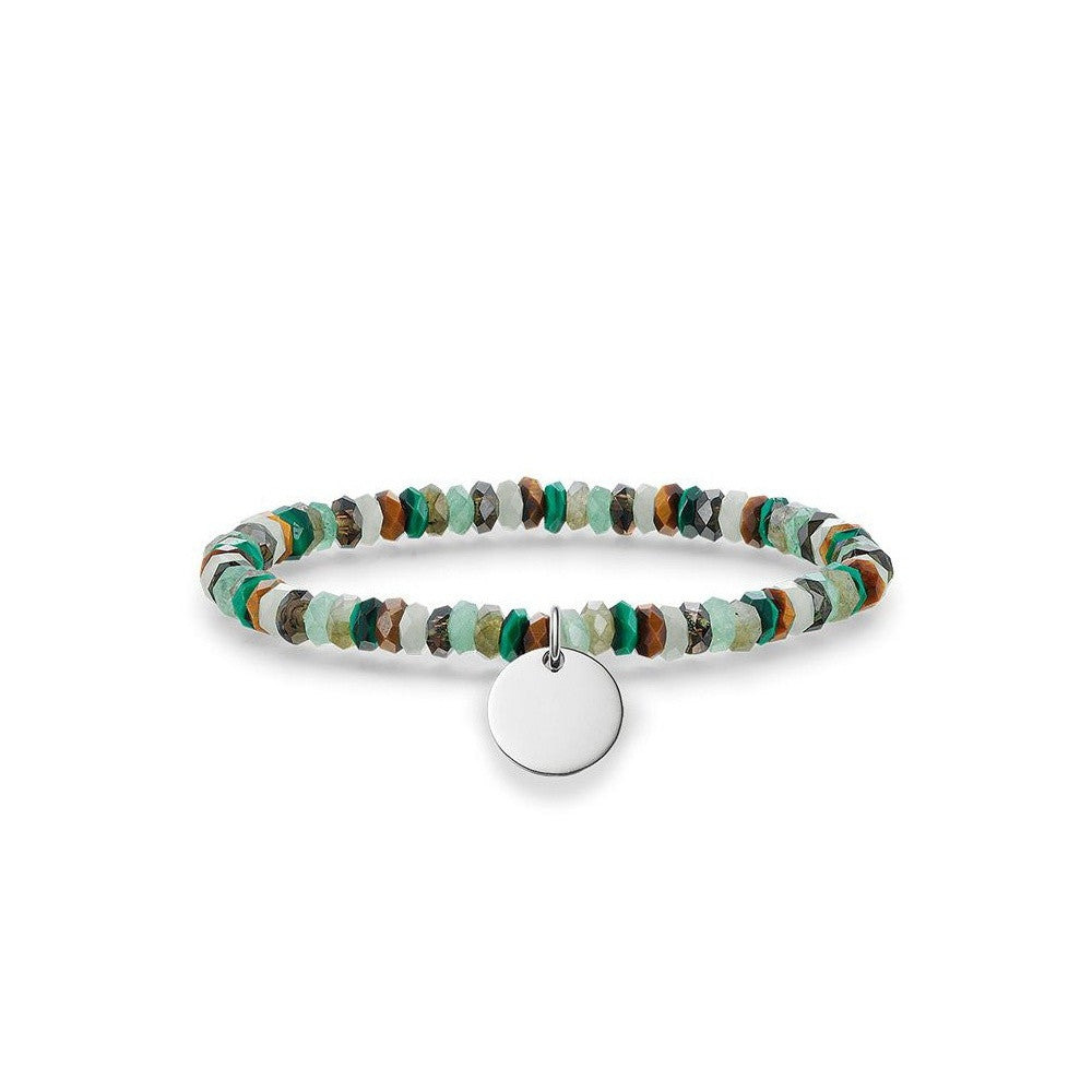 Thomas Sabo Bracelet Love Bridge Aventurine Labradorite Malachite Smoky Quartz Tigers Eye Silver 15.5cm