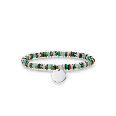 Thomas Sabo Bracelet Love Bridge Aventurine Labradorite Malachite Smoky Quartz Tigers Eye Silver 16.5cm
