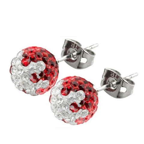 Tresor Paris Earrings Red & White Crystal Titanium