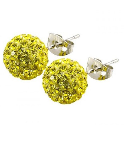 Tresor Paris 10mm Earrings Yellow Crystal Titanium