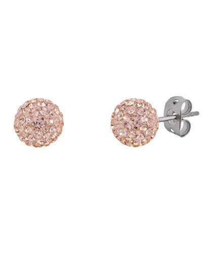 Tresor Paris 8mm Earrings Champagne Gold Crystal Bonbon Titanium