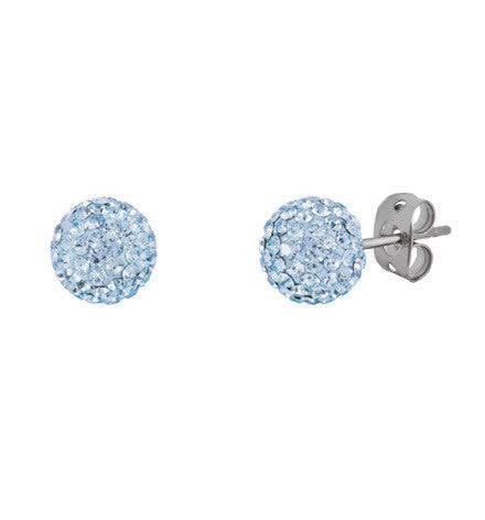 Tresor Paris 8mm Earrings Blue Crystal Bonbon Titanium