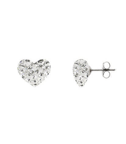 Tresor Paris Earrings White Heart Crystal Bonbon Titanium