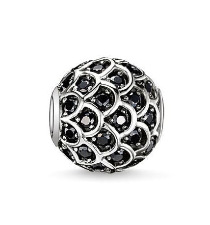 Thomas Sabo Charm Karma Bead Black Fish Silver