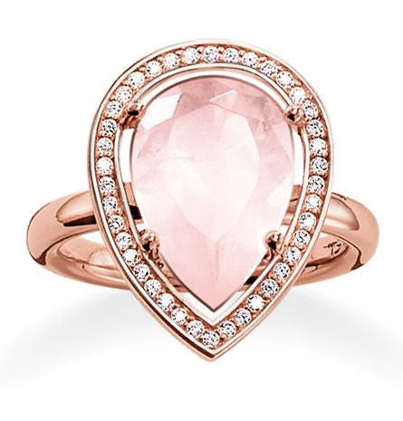 Thomas Sabo Ring Glam & Soul Drop Shaped Rose Quartz Rose Gold D