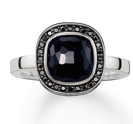 Thomas Sabo Glam And Soul Sterling Silver Onyx Zirconia Cosmo Ring