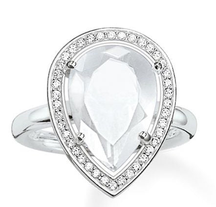 Thomas Sabo Ring Glam & Soul Drop Shaped Milky Quartz Silver D