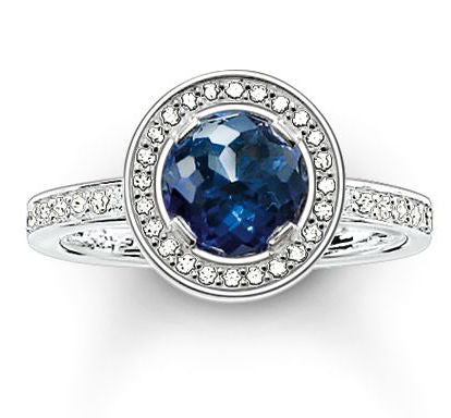 Thomas Sabo Ring Glam & Soul Eternity Dark Blue Synthetic Corundum Silver D