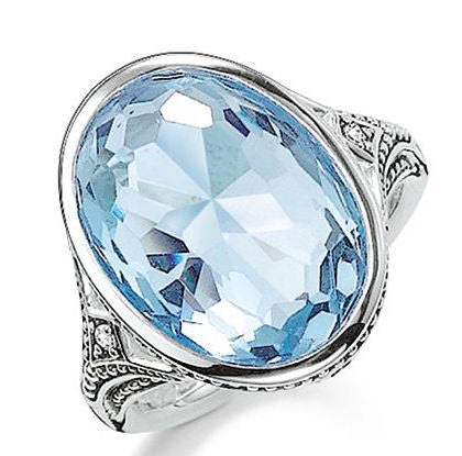 Thomas Sabo Ring Glam & Soul Purity of Lotos Blue Synthetic Spinel Silver D