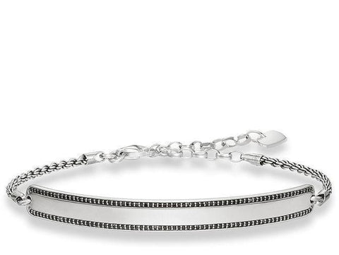 Thomas Sabo Bracelet Love Bridge Black Zirconia Pave Silver 21cm