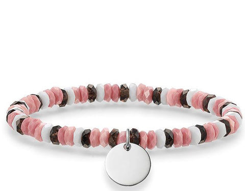 Thomas Sabo Bracelet Love Bridge Smoky Quartz Pink Jasper White Agate Silver 15.5cm D