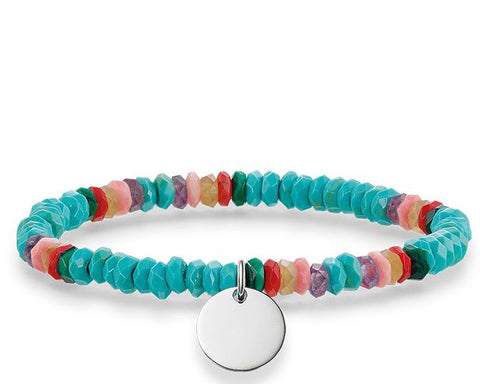 Thomas Sabo Bracelet Love Bridge Turquoise Pink Red Bamboo Coral Malacite Agate Amethyst Silver 15.5cm