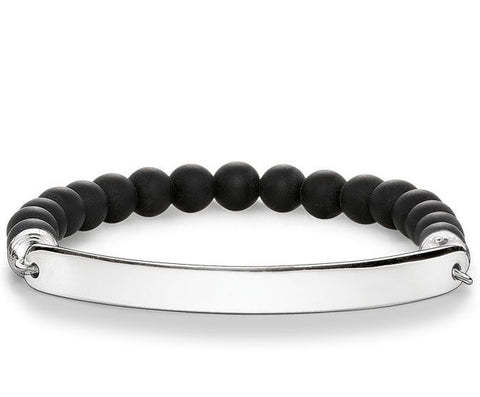 Thomas Sabo Bracelet Love Bridge Black Obsidian Silver 18.5cm