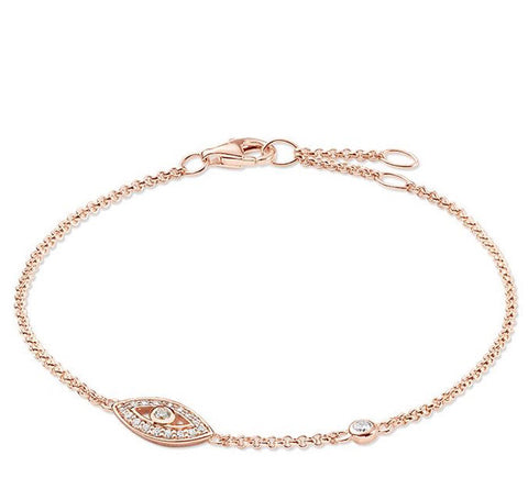Thomas Sabo Bracelet Glam & Soul Fatimas Garden Nazars Eye Rose Gold 19.5cm