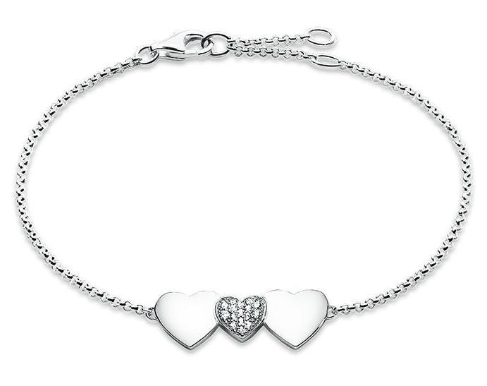Thomas Sabo Glam And Soul Sterling Silver White Zirconia Three Hearts D