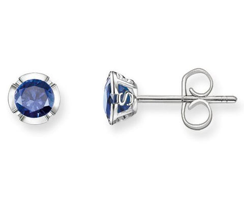 Thomas Sabo Earrings Glam & Soul Dark Blue Corundum Studs Silver