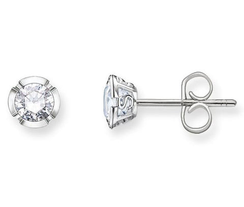 Thomas Sabo Earrings Glam & Soul White Zirconia Studs Silver