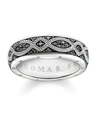 Thomas Sabo Ring Rebel At Heart Black Zirconia Pave Silver 62