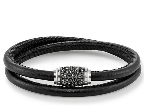 Thomas Sabo Bracelet Rebel At Heart Black Zirconia Pave Leather 40cm