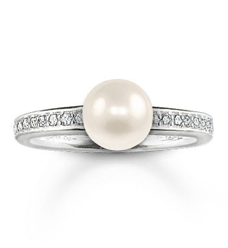 Thomas Sabo Ring Glam & Soul Eternity White Zirconia Pave Pearl Silver