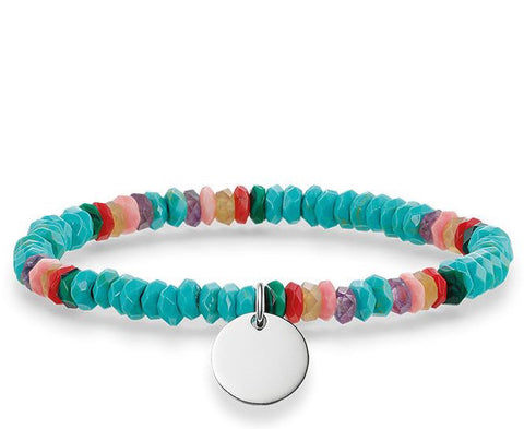 Thomas Sabo Bracelet Love Bridge Turquoise Hot Pink Red Bamboo Coral Malachite Agate Amethyst Silver 16.5cm