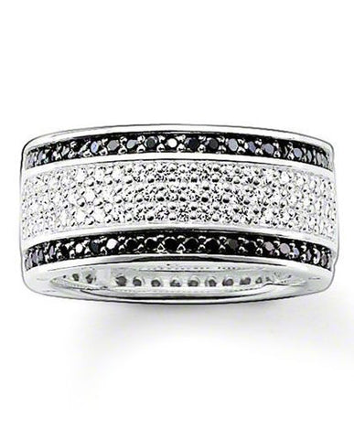 Thomas Sabo Ring Glam & Soul Black White Zirconia Pave Silver