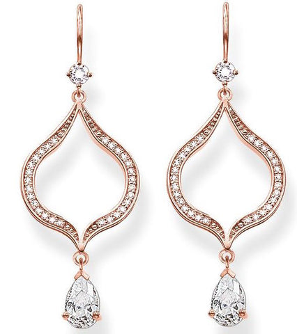 Thomas Sabo Earrings Glam & Soul Purity of Lotos White Zirconia Rose Gold