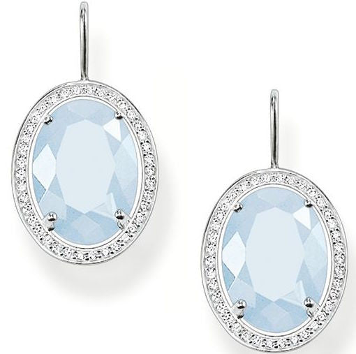 Thomas Sabo Earrings Glam & Soul White Zirconia Milky Aqua Silver