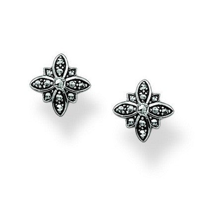 Thomas Sabo Earrings Flower Marcasite Studs Silver D