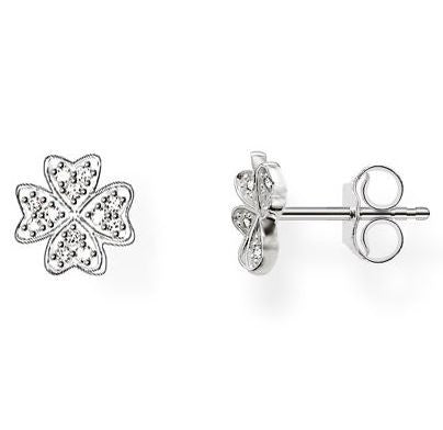 Thomas Sabo Earrings Glam & Soul Cloverleaf White Zirconia Pave Silver