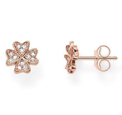 Thomas Sabo Earrings Glam & Soul Cloverleaf White Zirconia Pave Rose Gold