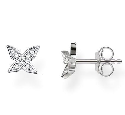 Thomas Sabo Earrings Glam & Soul Butterfly White Zirconia Pave Silver