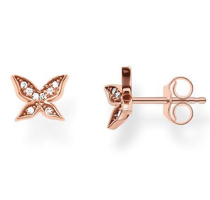 Thomas Sabo Earrings Glam & Soul Butterfly White Zirconia Pave Rose Gold