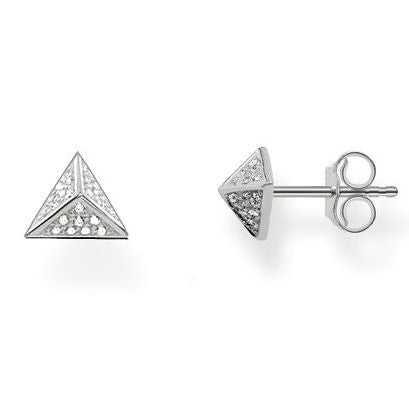 Thomas Sabo Earrings Glam & Soul Pyramid White Zirconia Pave Silver