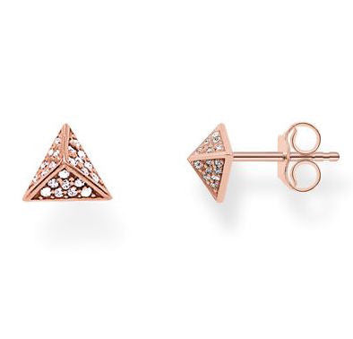 Thomas Sabo Earrings Glam & Soul Pyramid White Zirconia Pave Rose Gold
