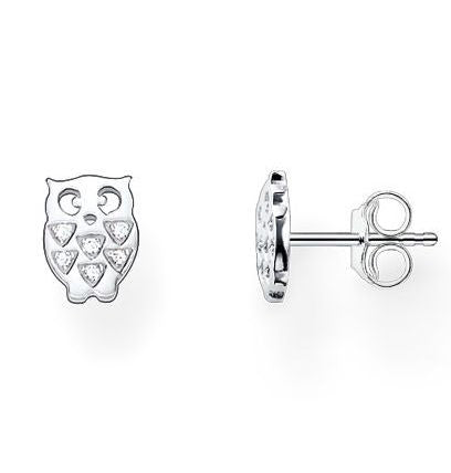 Thomas Sabo Earrings Glam & Soul Owl White Zirconia Pave Silver