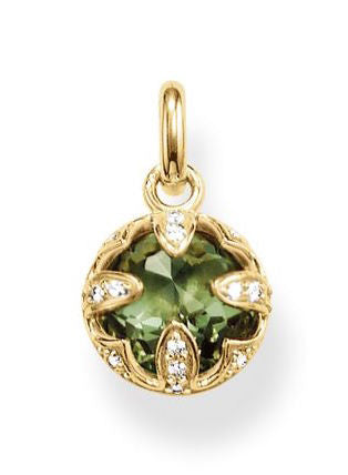 Thomas Sabo Pendant Glam & Soul Purity of Lotus Green Synthetic Spinel Yellow Gold