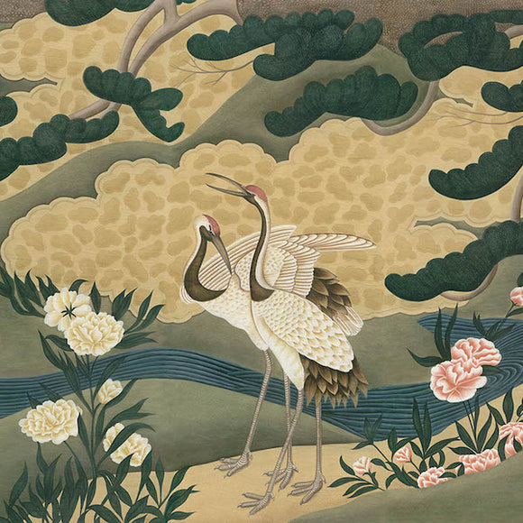 Japanese Cranes Wallcovering