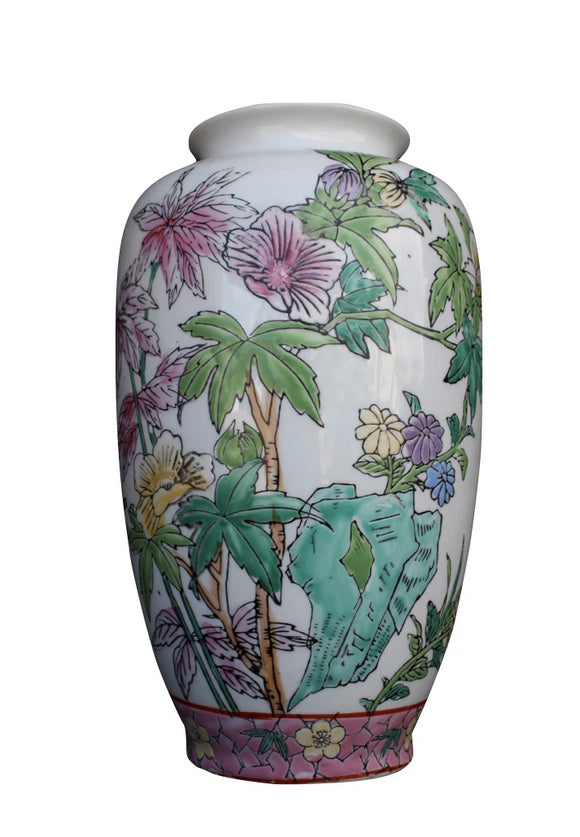 White Vase with Butterflies & Flowers