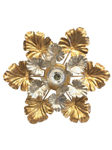 Italian gold and silver leaf flush mount