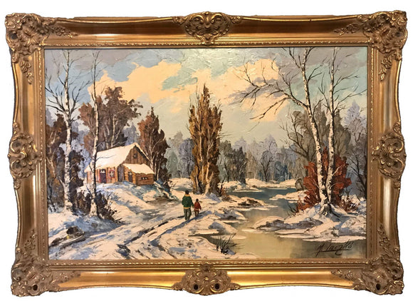 M. Laczko artist // acrylic on canvas // antique frame // ornate frame // gilded frame