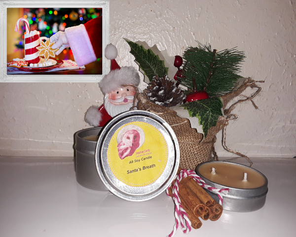 Santa's Breath- Cinnamon scented candle- 6 oz and 2 oz tins - Intuitive Clarity Candle Boutique