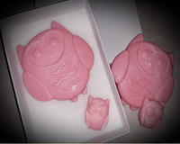Owl-Shaped Wax Melt Set - Pink Chiffon- Bubblegum Scented Family of 4 Owl Wax Melts - Intuitive Clarity Candle Boutique