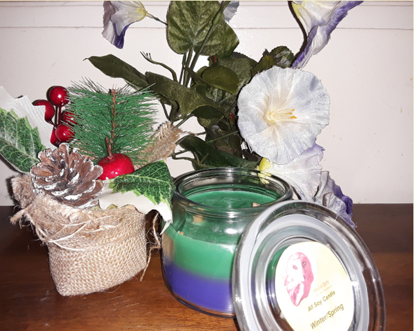 Winter/Spring - Pine and Spring Floral Scented 8 oz Layered Soy Candle - Intuitive Clarity Candle Boutique