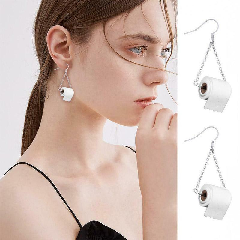 Sterling Silver Toilet Paper Earrings