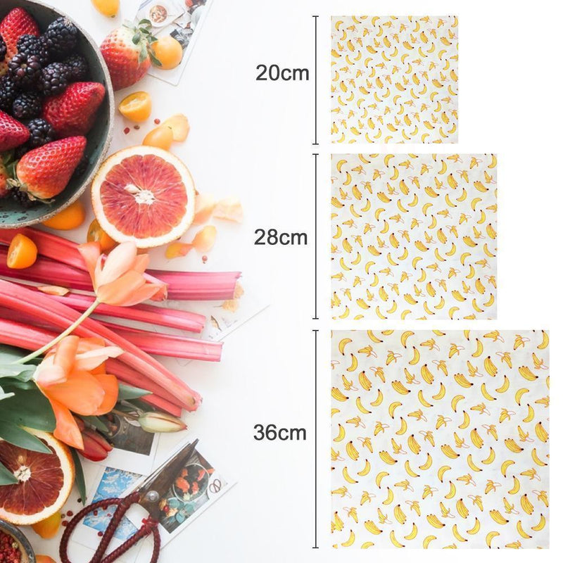 Organic & Reusable Beeswax Food Wraps – 3 Pcs (S/M/L)