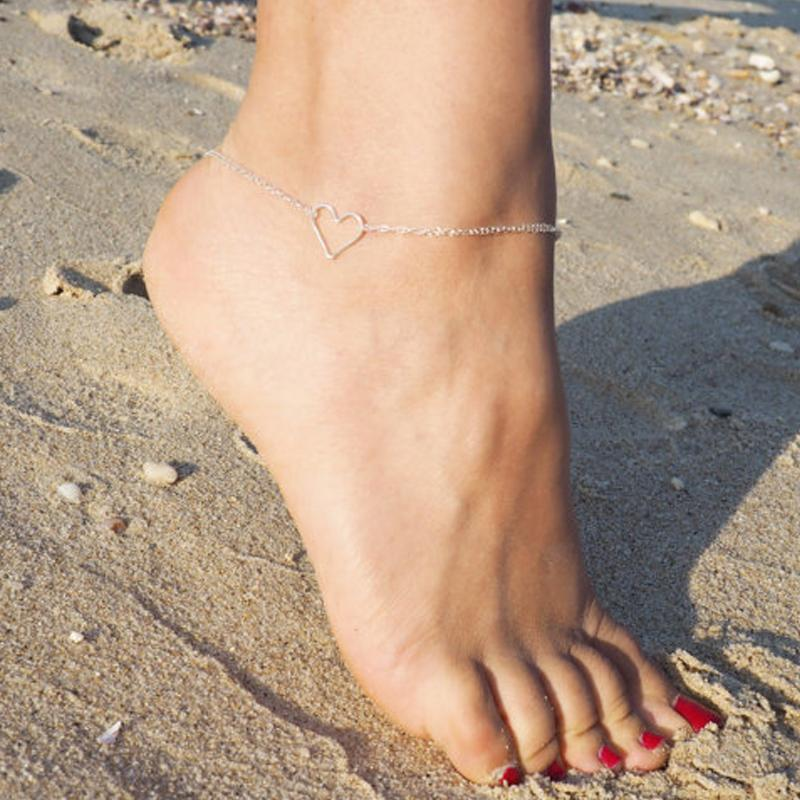 Heart Outline Ankle Bracelet