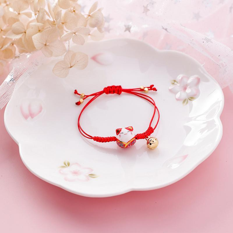 Hand Crafted Lucky Cat Knotted Bracelet