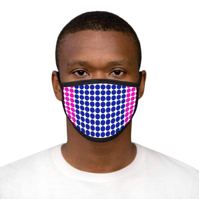 Pink Blue Polka - Mixed-Fabric Face Mask - Solitary Isle